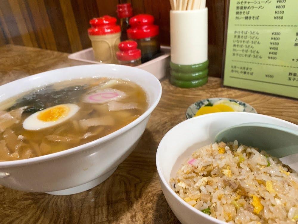 吉田食堂 五目ラーメンと半チャーハン