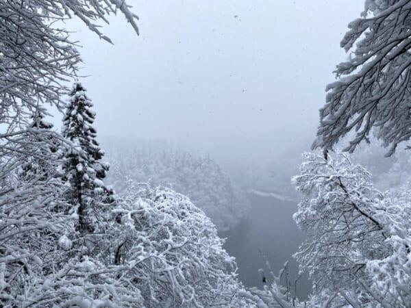 只見川第一橋梁雪景色
