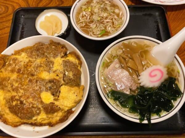 若大将 カツ丼 + 半ラーメン