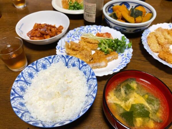 かぼちゃんの煮物、竹輪フライ